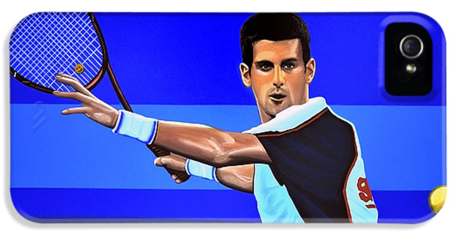 Novak Djokovic IPhone 5 Case featuring the painting Novak Djokovic by Paul Meijering
