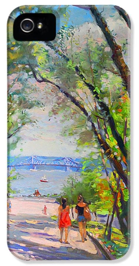 Nyack Park IPhone 5 Case featuring the painting Nyack Park A Beautiful Day For A Walk by Ylli Haruni