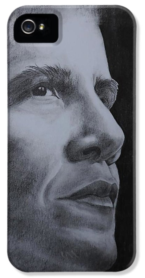 Barrack Obama IPhone 5 Case featuring the drawing Obama by Lise PICHE