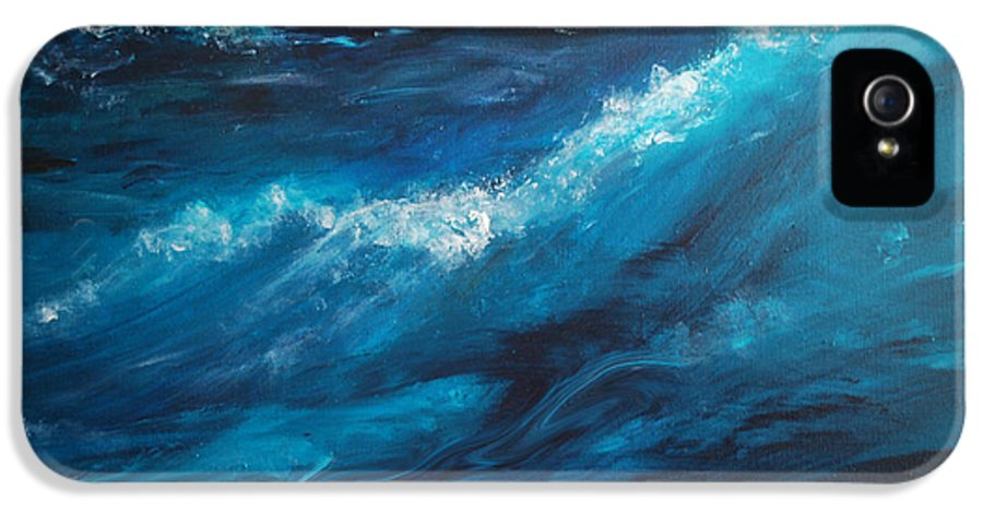 Crashing Waves IPhone 5 Case featuring the painting Ocean II by Patricia Motley