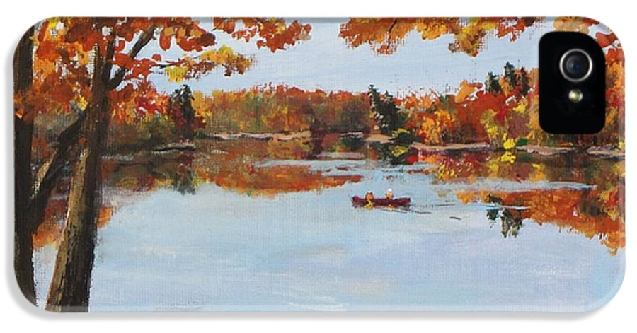 Walden Pond IPhone 5 Case featuring the painting October Morn At Walden Pond by Jack Skinner