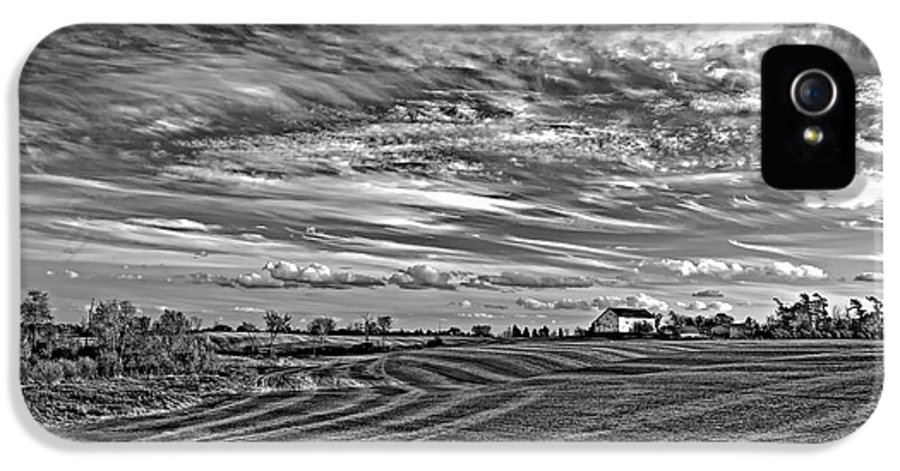 Landscape IPhone 5 Case featuring the photograph October Patterns Bw by Steve Harrington