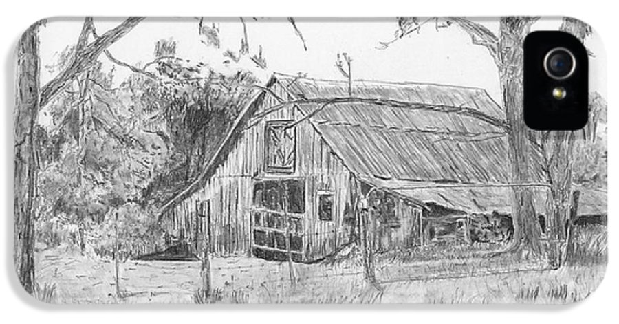Old Barn IPhone 5 Case featuring the drawing Old Barn 2 by Barry Jones