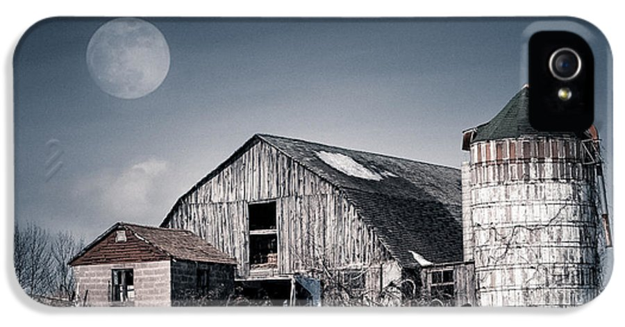 Barn IPhone 5 Case featuring the photograph Old Barn And Winter Moon - Snowy Rustic Landscape by Gary Heller