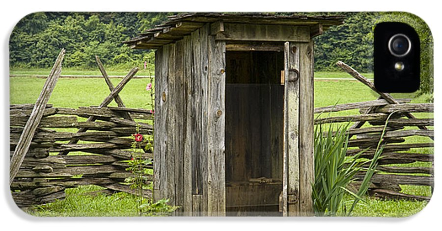 Art IPhone 5 Case featuring the photograph Old Outhouse On A Farm In The Smokey Mountains by Randall Nyhof
