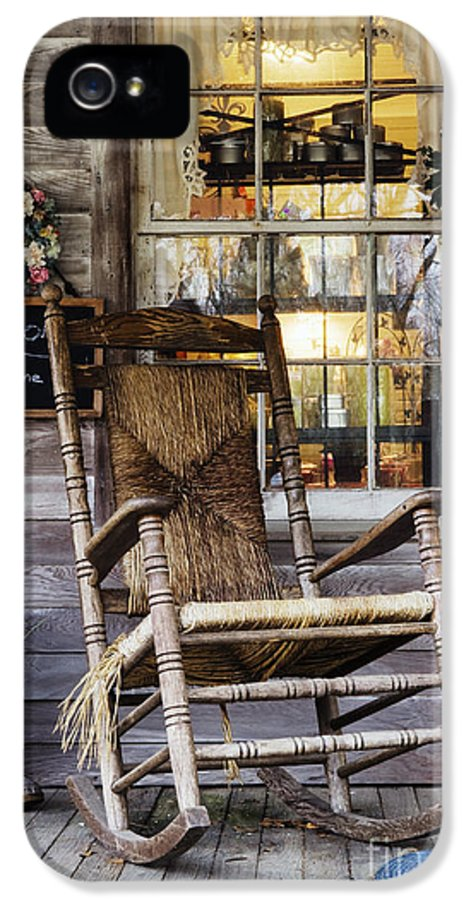 Americana IPhone 5 Case featuring the photograph Old Wooden Rocking Chair On A Wooden Porch by Jeremy Woodhouse