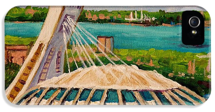 The Olympic Stadium IPhone 5 Case featuring the painting Olympic Stadium Montreal by Carole Spandau