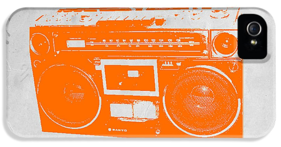 IPhone 5 Case featuring the painting Orange Boombox by Naxart Studio