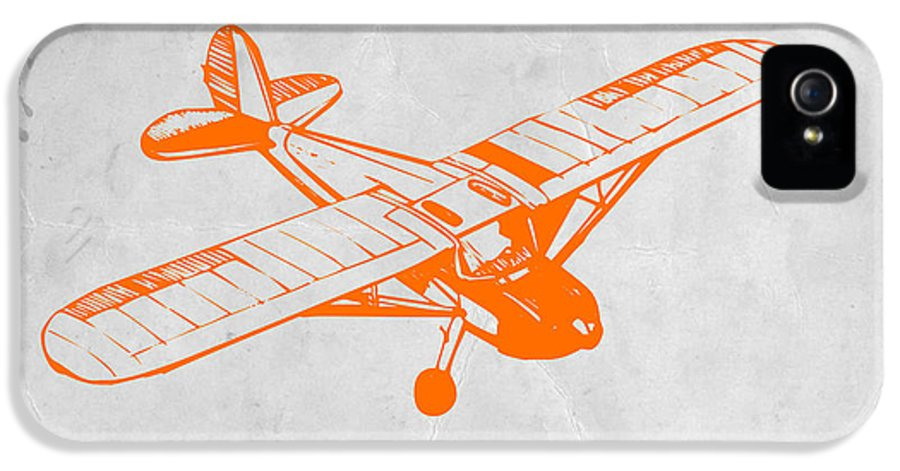 Plane IPhone 5 Case featuring the painting Orange Plane 2 by Naxart Studio