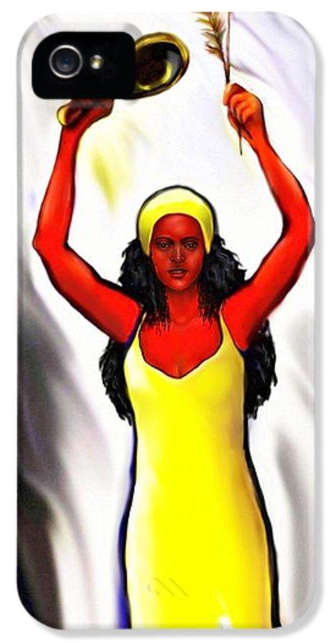 Oshun IPhone 5 / 5s Case featuring the digital art Oshun -goddess Of Love -4 by Carmen Cordova
