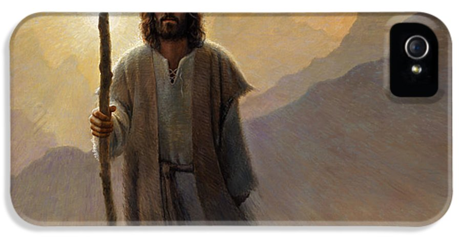 Jesus IPhone 5 Case featuring the painting Out Of The Wilderness by Greg Olsen