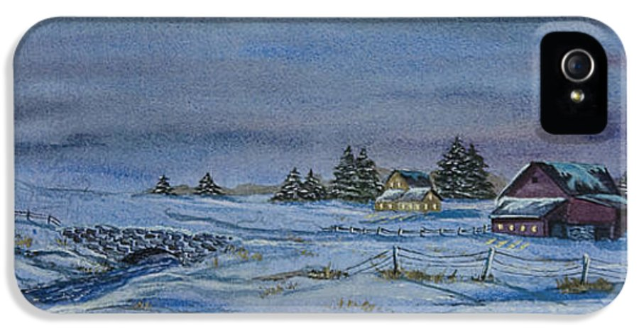 Winter Scene Paintings IPhone 5 Case featuring the painting Over The Bridge And Through The Snow by Charlotte Blanchard