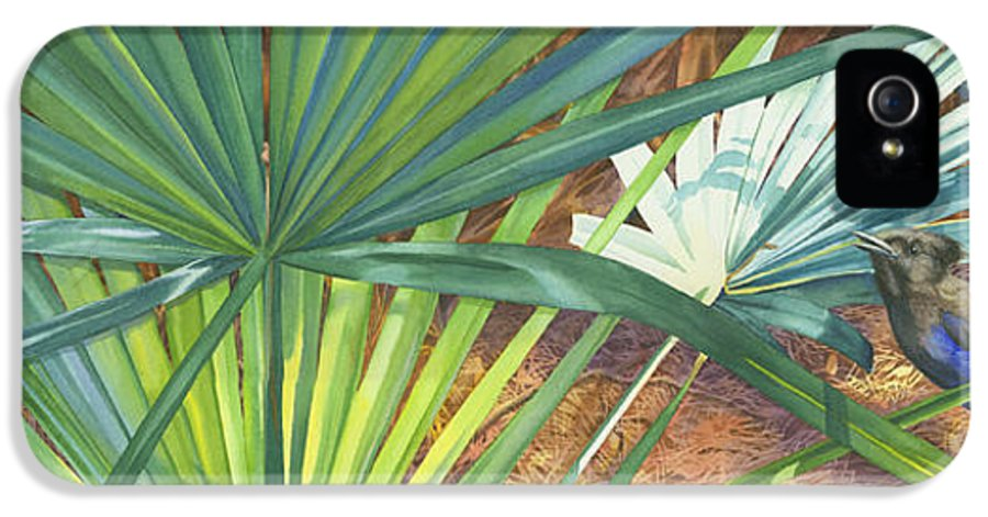 Stellar\'s Bluejay IPhone 5 Case featuring the painting Palmettos And Stellars Blue by Marguerite Chadwick-Juner