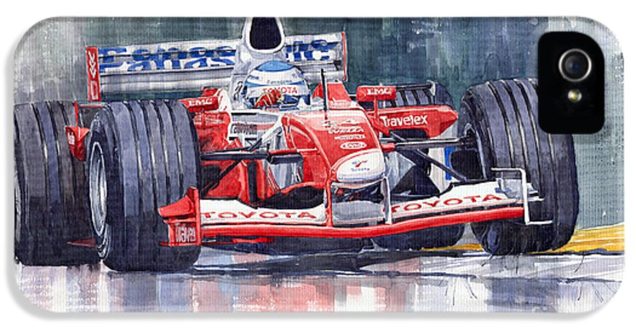 Watercolour IPhone 5 Case featuring the painting Panasonic Toyota Tf102 F1 2002 Mika Salo by Yuriy Shevchuk