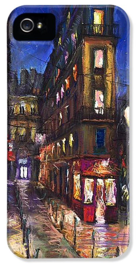Landscape IPhone 5 Case featuring the painting Paris Old Street by Yuriy Shevchuk