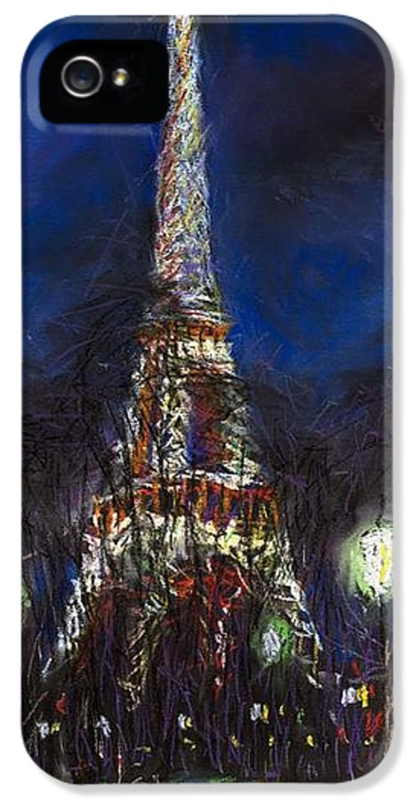 Pastel IPhone 5 Case featuring the painting Paris Tour Eiffel by Yuriy Shevchuk