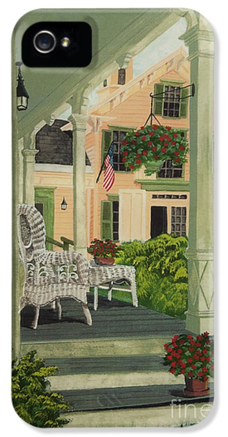 Side Porch IPhone 5 Case featuring the painting Patriotic Country Porch by Charlotte Blanchard