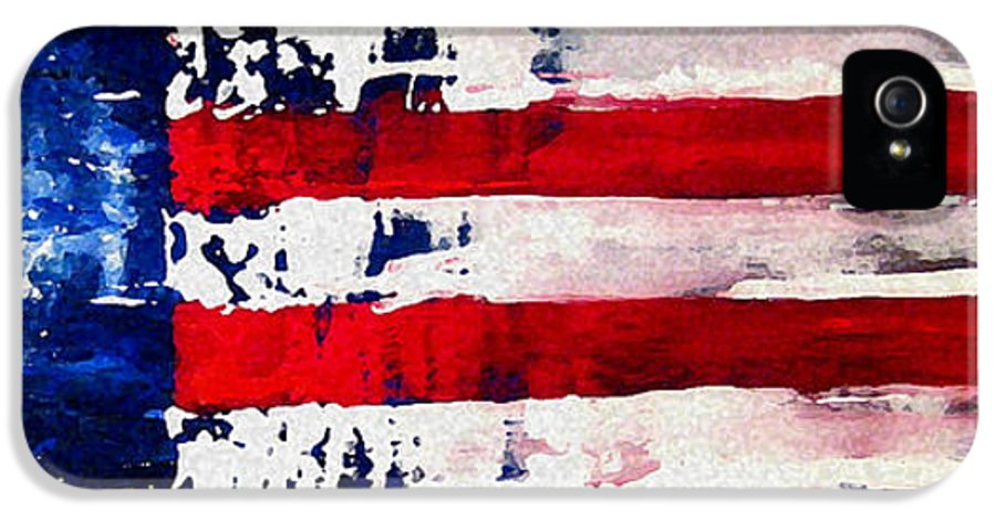 Flag IPhone 5 Case featuring the painting Patriot's Theme by Charles Jos Biviano