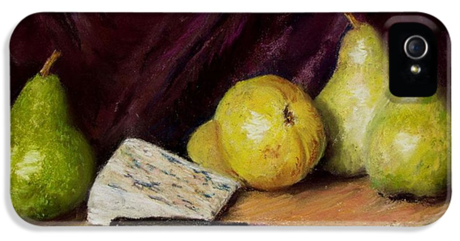 Still Life IPhone 5 Case featuring the pastel Pears And Cheese by Jack Skinner