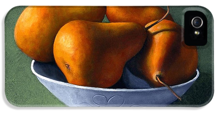 Still Life IPhone 5 Case featuring the painting Pears In Blue Bowl by Frank Wilson