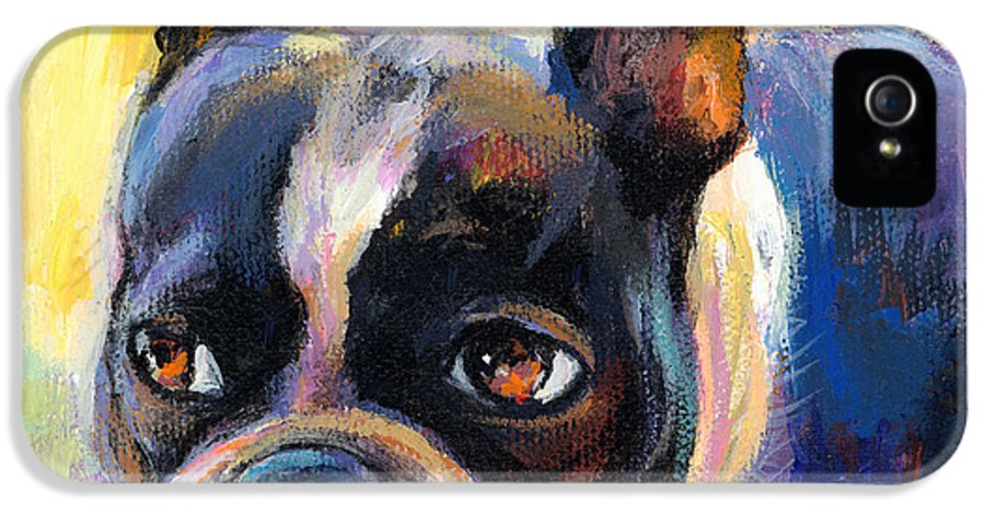 Boston Terrier Dog IPhone 5 Case featuring the painting Pensive Boston Terrier Dog Painting by Svetlana Novikova