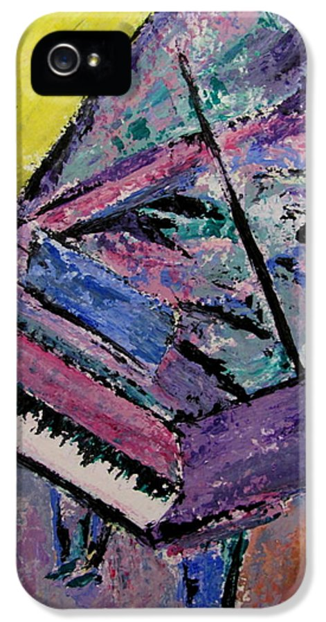 Piano IPhone 5 Case featuring the painting Piano Pink by Anita Burgermeister