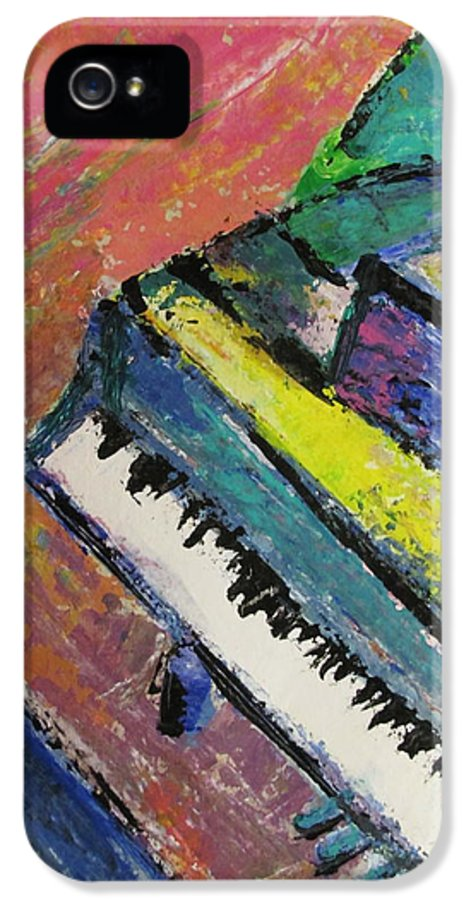 Music IPhone 5 / 5s Case featuring the painting Piano With Yellow by Anita Burgermeister