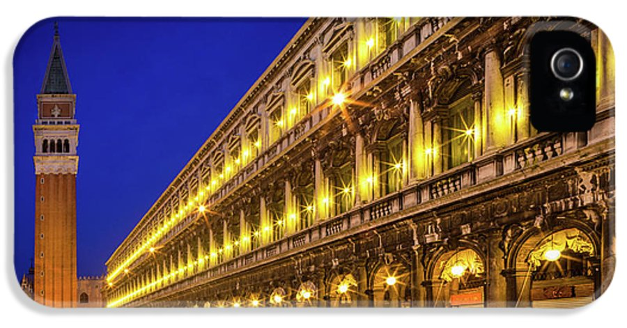 Europe IPhone 5 Case featuring the photograph Piazza San Marco By Night by Inge Johnsson
