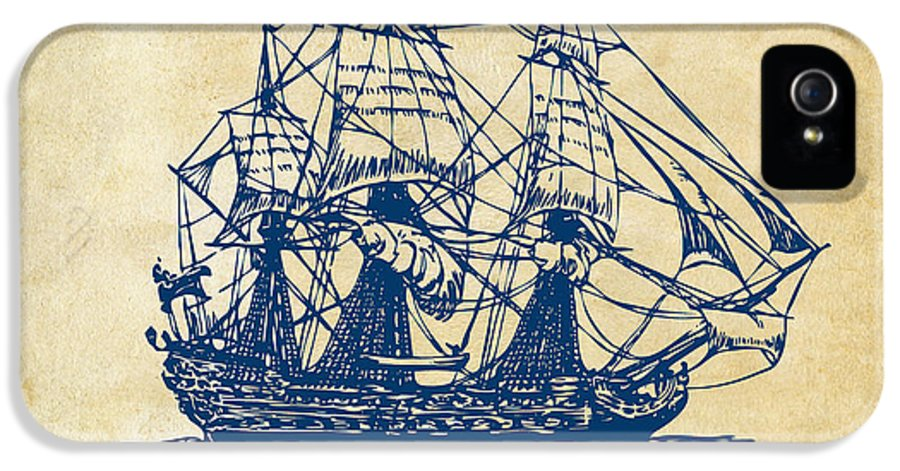 Pirate Ship IPhone 5 Case featuring the drawing Pirate Ship Artwork - Vintage by Nikki Marie Smith