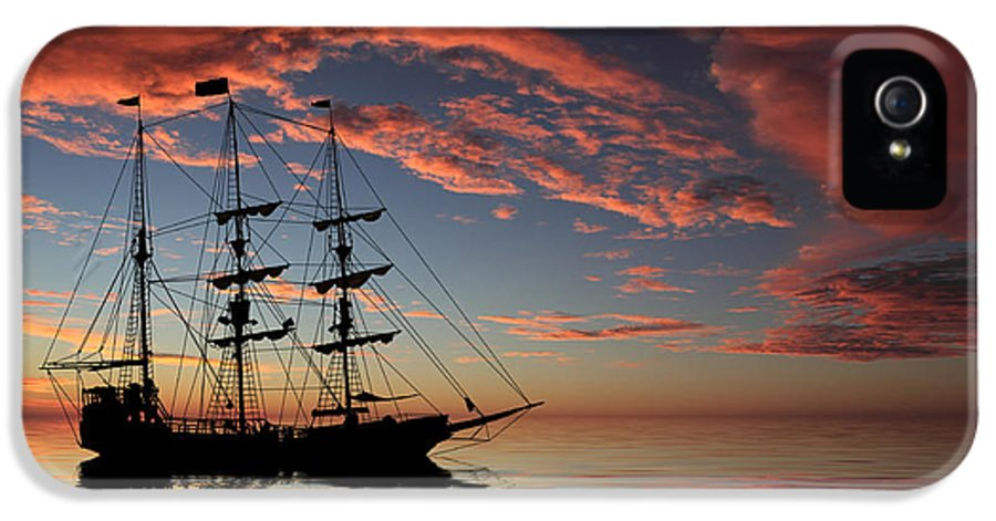 Pirate Ship IPhone 5 Case featuring the photograph Pirate Ship At Sunset by Shane Bechler