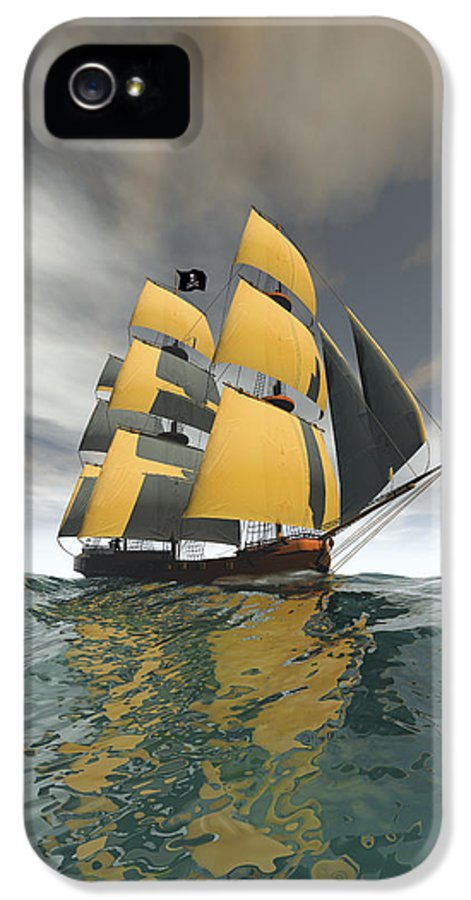 Pirate IPhone 5 Case featuring the digital art Pirate Ship On The High Seas by Carol and Mike Werner