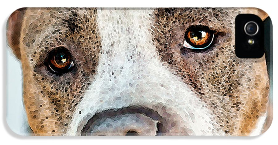 Pit Bull IPhone 5 Case featuring the painting Pit Bull Dog - Pure Love by Sharon Cummings
