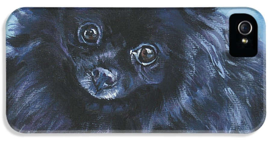 Pomeranian IPhone 5 Case featuring the painting Pomeranian Black by Lee Ann Shepard