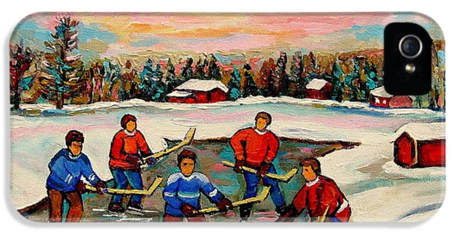 Montreal IPhone 5 Case featuring the painting Pond Hockey Countryscene by Carole Spandau