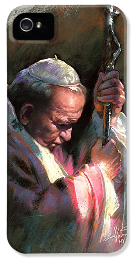Portrait IPhone 5 Case featuring the pastel Pope John Paul II by Ylli Haruni