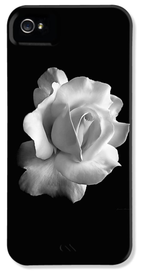 Rose IPhone 5 Case featuring the photograph Porcelain Rose Flower Black And White by Jennie Marie Schell