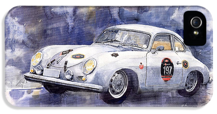 Watercolour IPhone 5 Case featuring the painting Porsche 356 Coupe by Yuriy Shevchuk