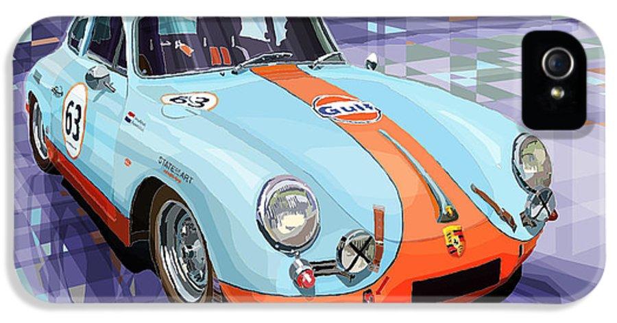 Automotive IPhone 5 Case featuring the digital art Porsche 356 Gulf by Yuriy Shevchuk