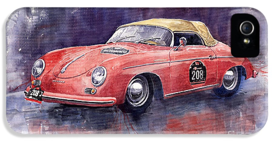 Watercolour IPhone 5 Case featuring the painting Porsche 356 Speedster Mille Miglia by Yuriy Shevchuk