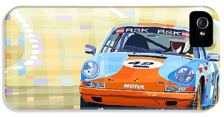 Automotiv IPhone 5 / 5s Case featuring the digital art Porsche 911 S Classic Le Mans 24 by Yuriy Shevchuk