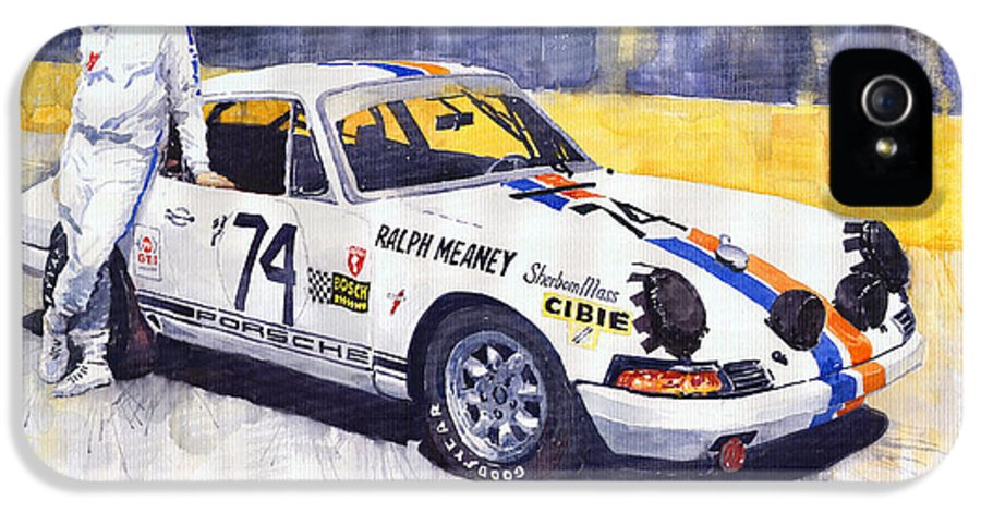 Automotive IPhone 5 Case featuring the painting Porsche 911 Sebring 1970 Ralf Meaney by Yuriy Shevchuk
