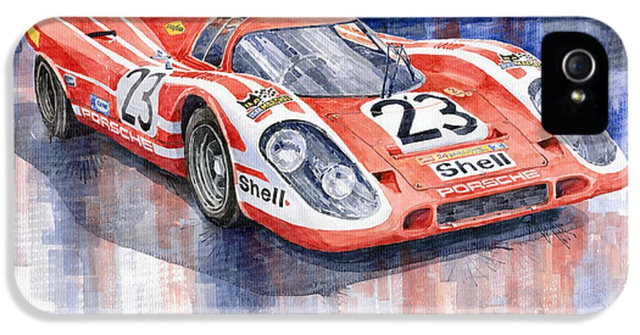 Watercolor IPhone 5 Case featuring the painting Porsche 917k Winning Le Mans 1970 by Yuriy Shevchuk