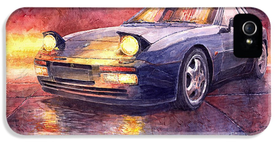 Auto IPhone 5 Case featuring the painting Porsche 944 Turbo by Yuriy Shevchuk