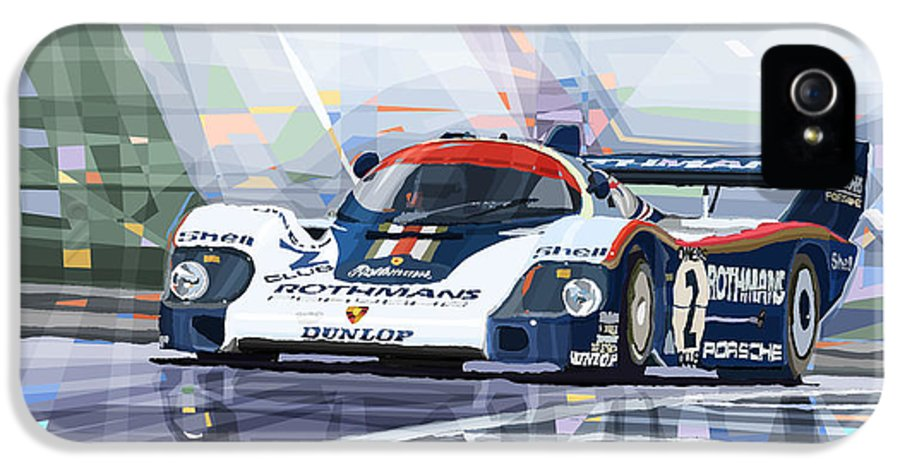 Automotive IPhone 5 Case featuring the mixed media Porsche 956 Rothmans 1982 1000km Francorchamps Derek Bell by Yuriy Shevchuk