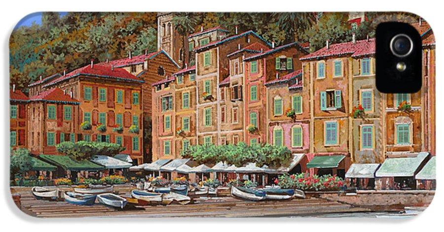 Portofino IPhone 5 Case featuring the painting Portofino-la Piazzetta E Le Barche by Guido Borelli