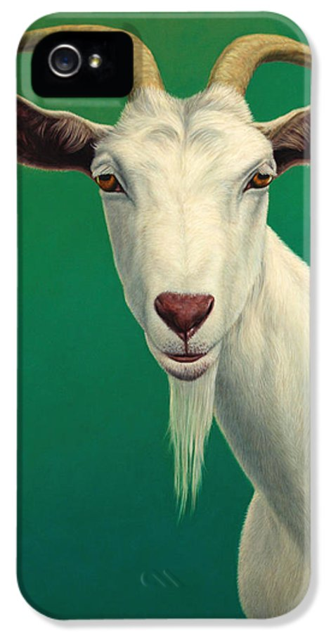 Goat IPhone 5 / 5s Case featuring the painting Portrait Of A Goat by James W Johnson