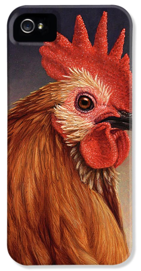 Rooster IPhone 5 Case featuring the painting Portrait Of A Rooster by James W Johnson