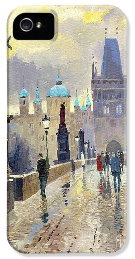 Oil On Canvas IPhone 5 Case featuring the painting Prague Charles Bridge 02 by Yuriy Shevchuk
