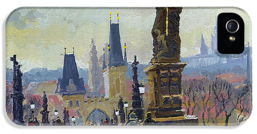 Oil On Canvas IPhone 5 Case featuring the painting Prague Charles Bridge 04 by Yuriy Shevchuk