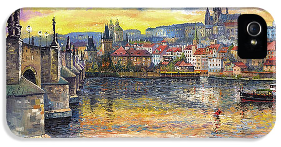 Oil On Canvas IPhone 5 Case featuring the painting Prague Charles Bridge And Prague Castle With The Vltava River 1 by Yuriy Shevchuk